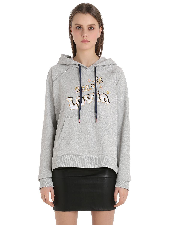 lyst tommy hilfiger gigi hadid cotton terry sweatshirt in gray. Black Bedroom Furniture Sets. Home Design Ideas