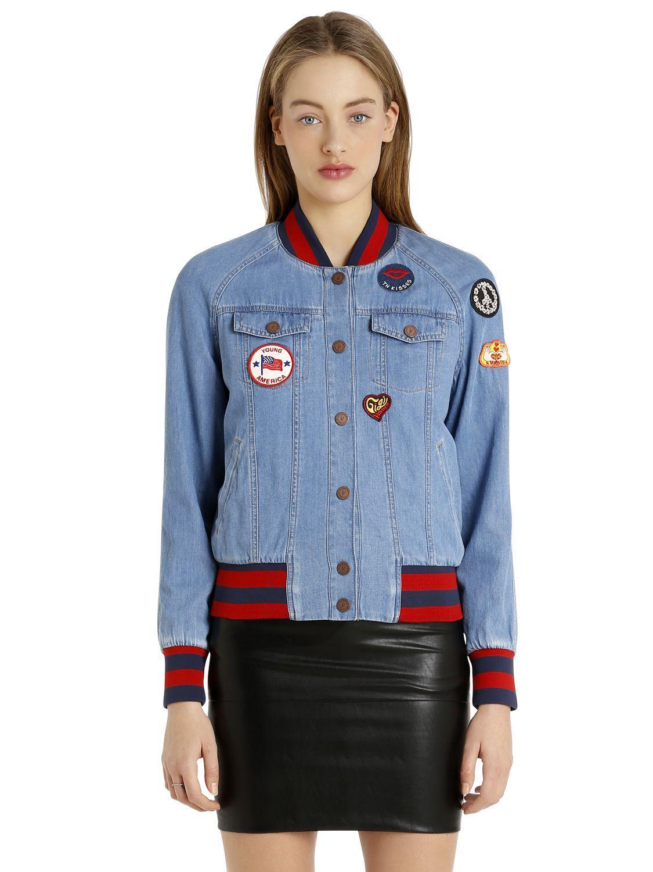 0ab380f01 Tommy Hilfiger Patches Denim Bomber Jacket Gigi Hadid in Blue - Lyst