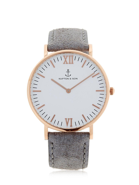 kapten son 40mm vintage leather watch in metallic for men lyst. Black Bedroom Furniture Sets. Home Design Ideas