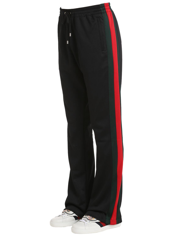 Lyst Gucci 25cm Web Stripes Jersey Track Pants In Black