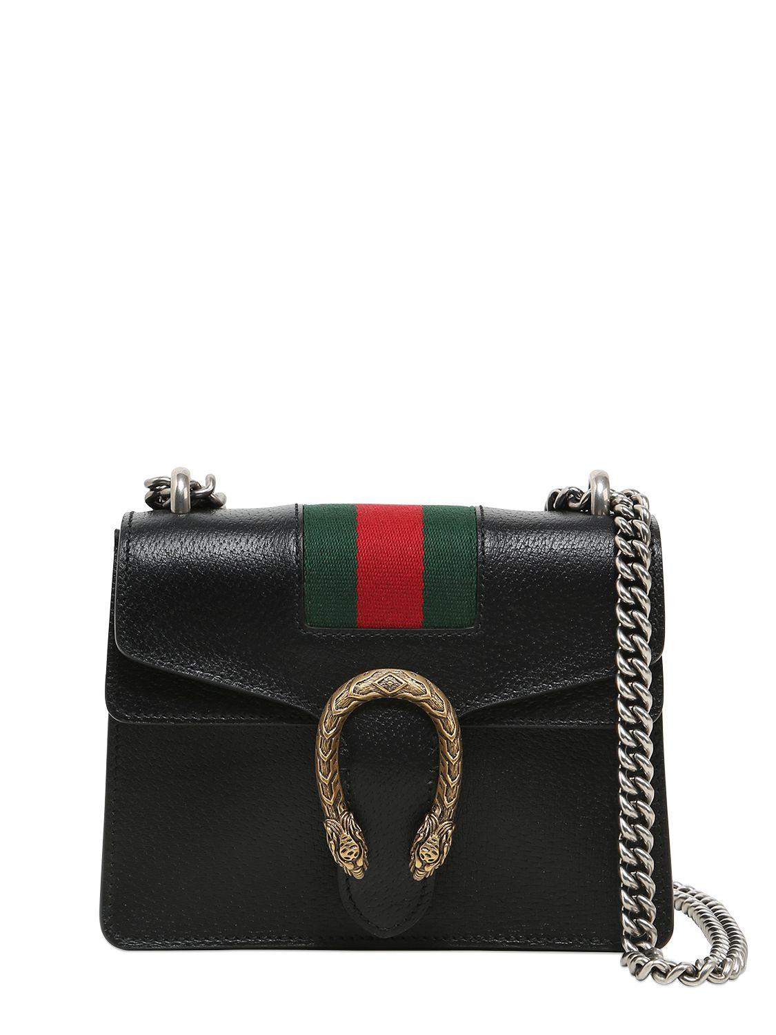 gucci mini dionysus leather bag w web detail in black lyst. Black Bedroom Furniture Sets. Home Design Ideas
