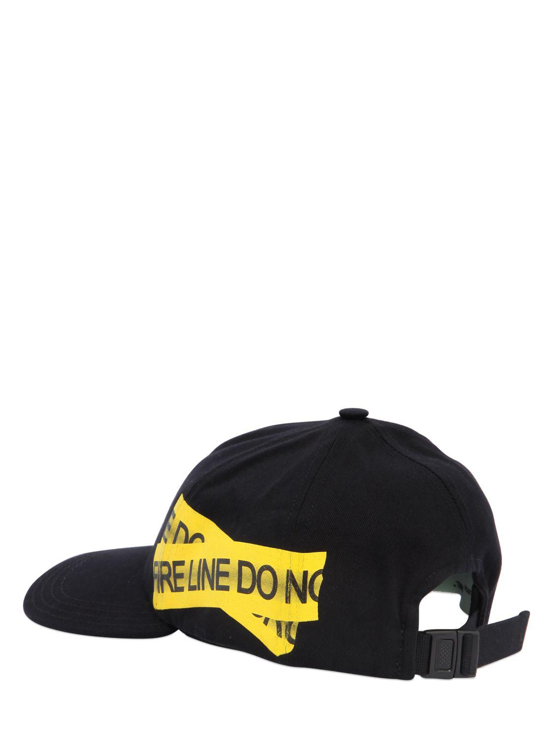 681b30093024be Off-White c/o Virgil Abloh Fire Line Tape Canvas Baseball Hat in ...