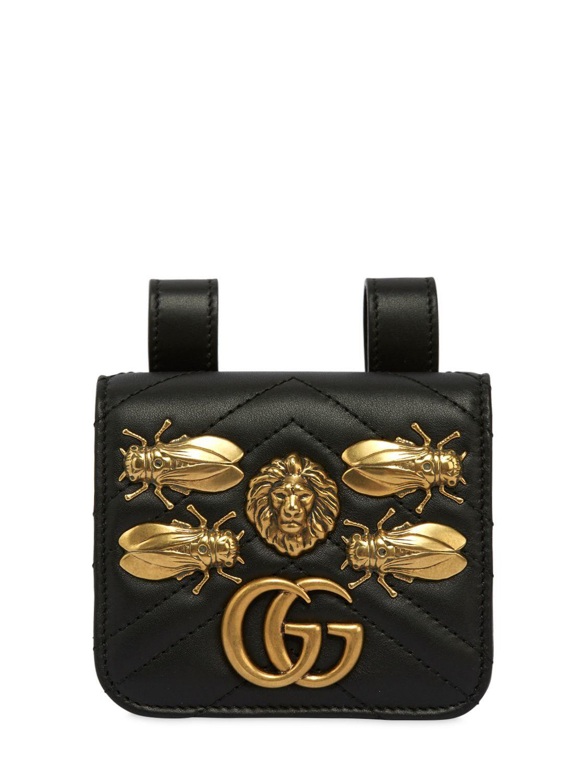 08a00646441d21 Gucci Gg Marmont Belt Pack W/ Metal Appliqués in Black - Lyst