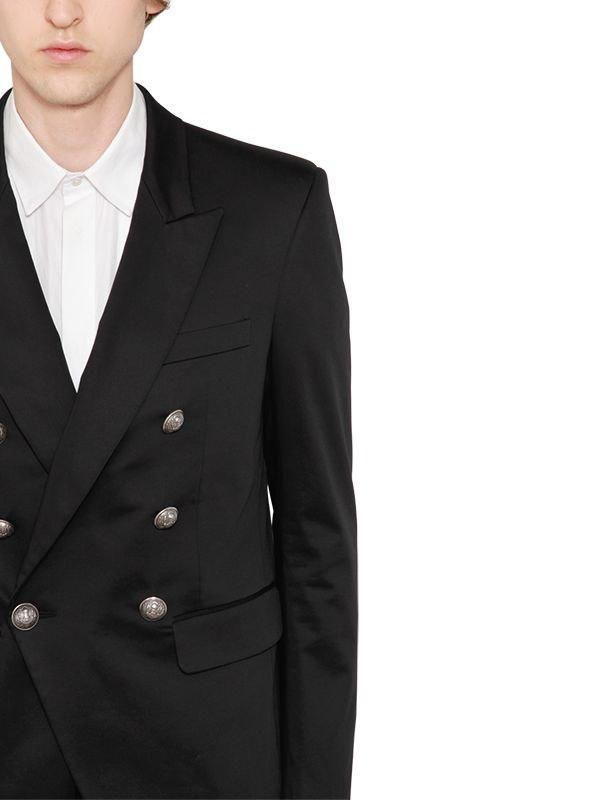49ee2bd6 Lyst - Balmain Double Breasted Cotton Blend Jacket in Black for Men