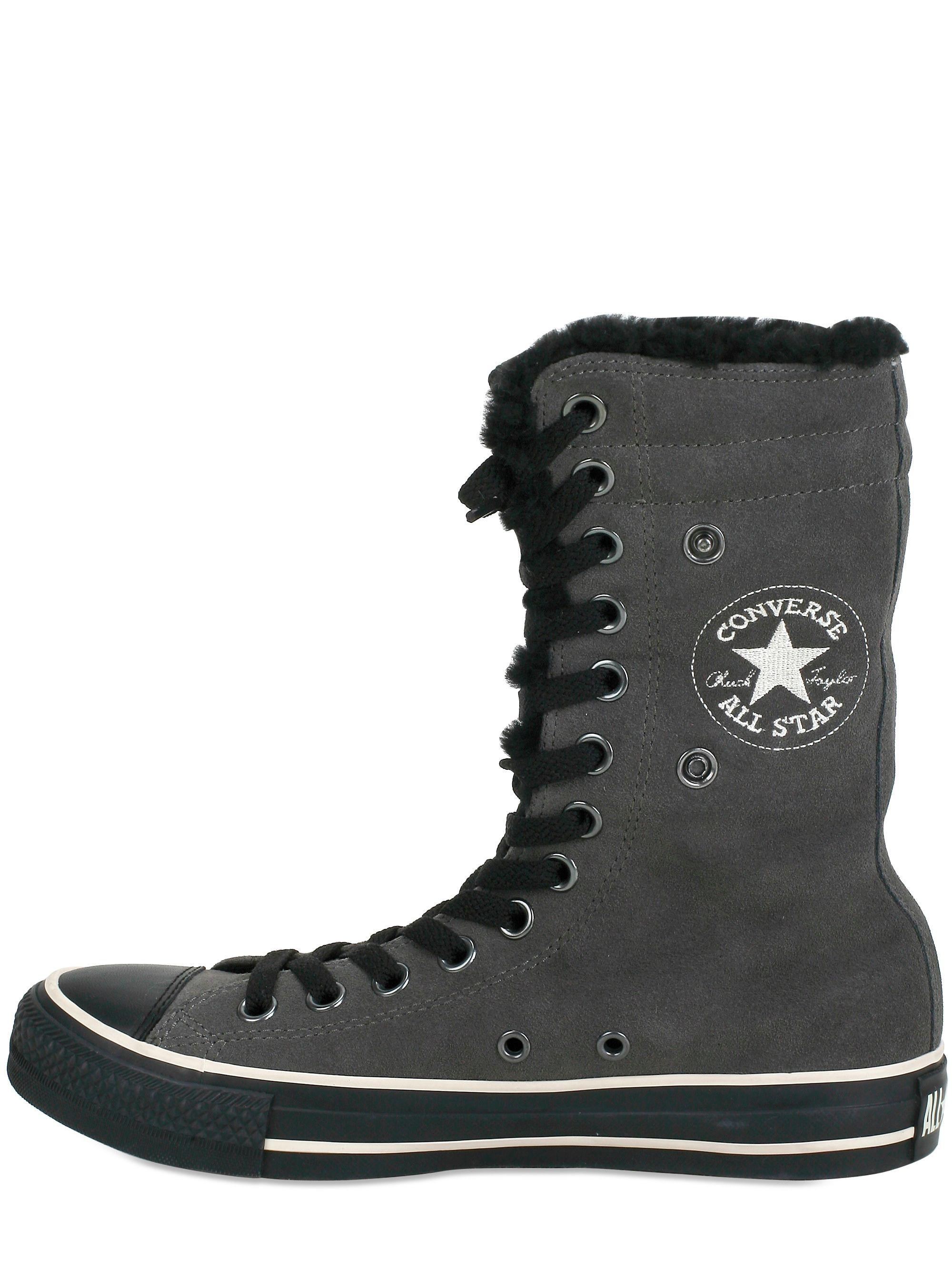 Converse All Star Knee Suede Eco Fur in Anthracite (Grey)