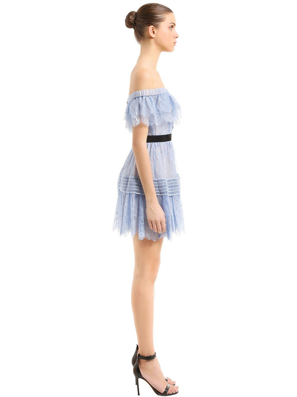 dd7b09fa05c4 Lyst - Self-Portrait Off The Shoulder Fine Lace Mini Dress in Blue