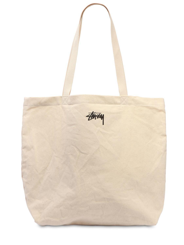Stussy Stock Dot Cotton Canvas Tote Bag