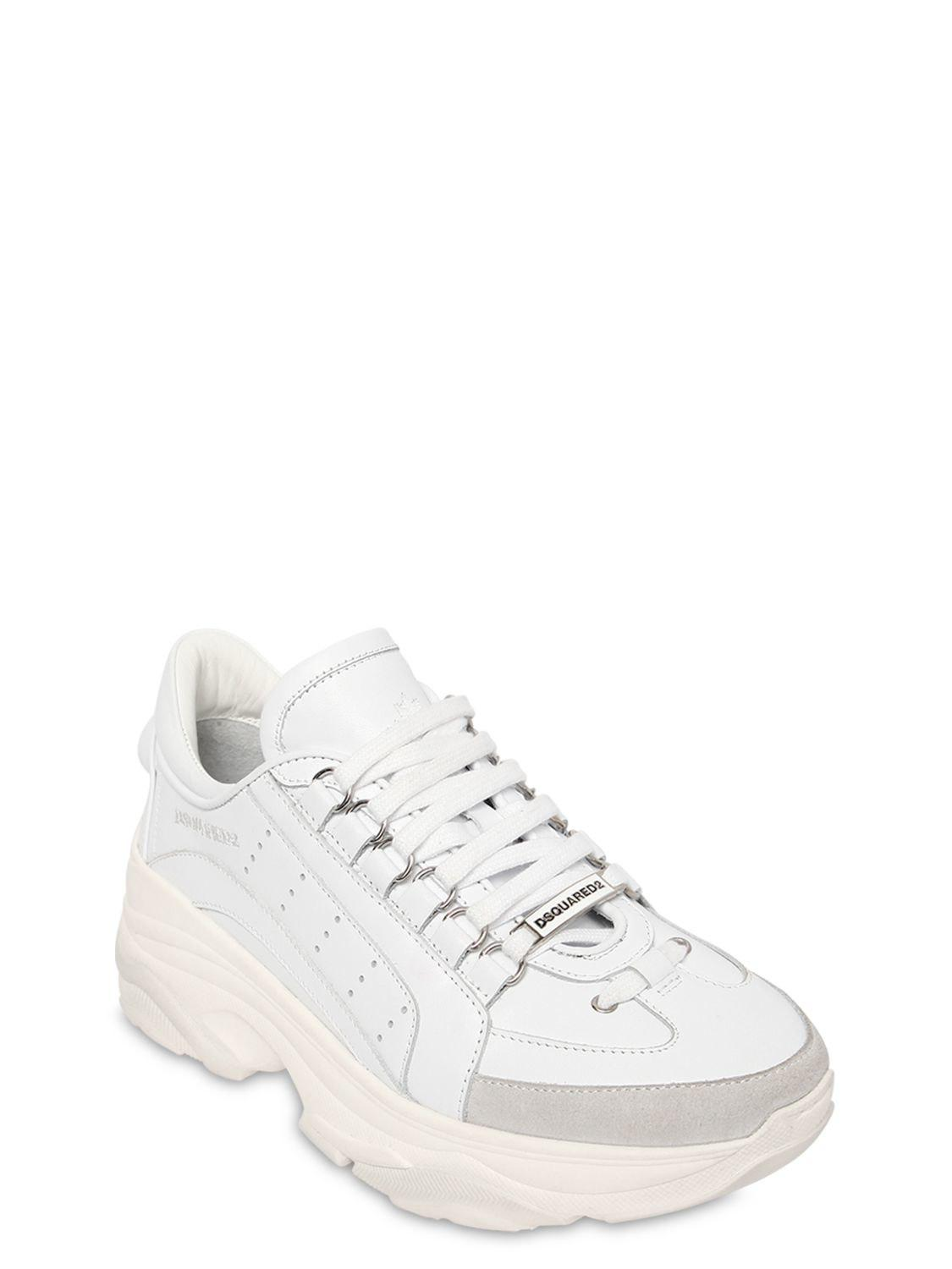 921be68aae4 Lyst - DSquared² 60mm Bumpy 551 Leather Sneakers in White