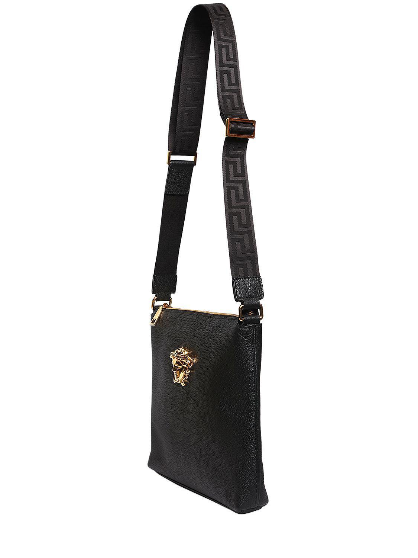 Versace Medusa Tumbled Leather Messenger Bag in Black - Lyst affd6186cc