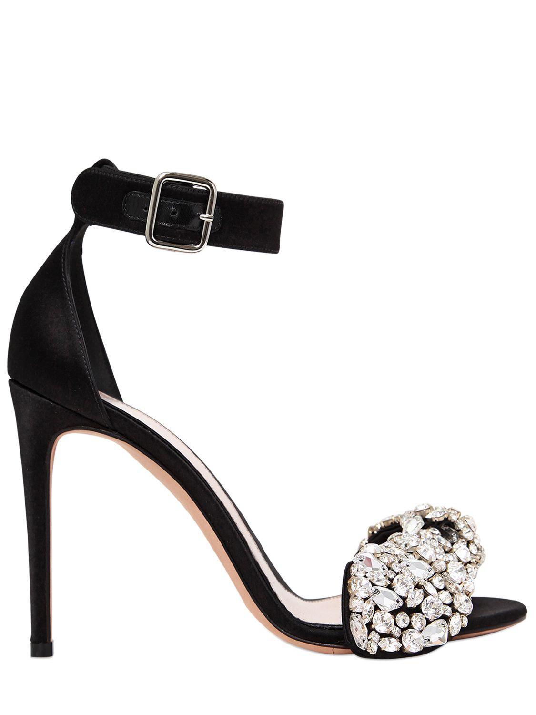 67f340efd8b Alexander Mcqueen 105mm Crystal Bow Satin Sandals in Black - Save ...