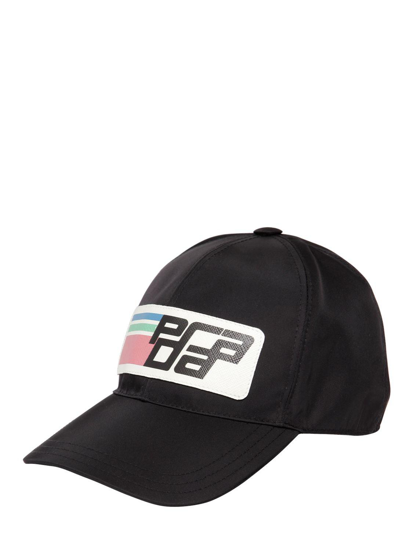 20634f930434f Prada Nylon Logo Baseball Cap in Black - Save 40% - Lyst