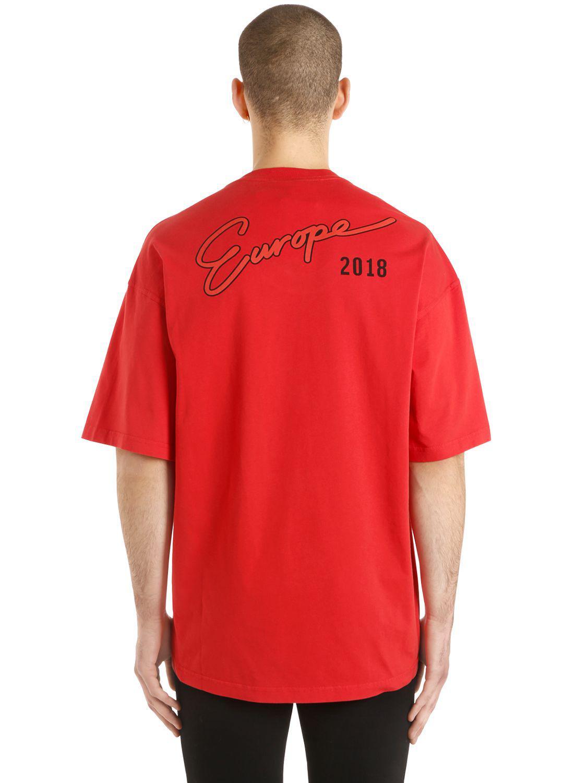 Lyst Balenciaga Oversized Europe Printed Jersey T Shirt