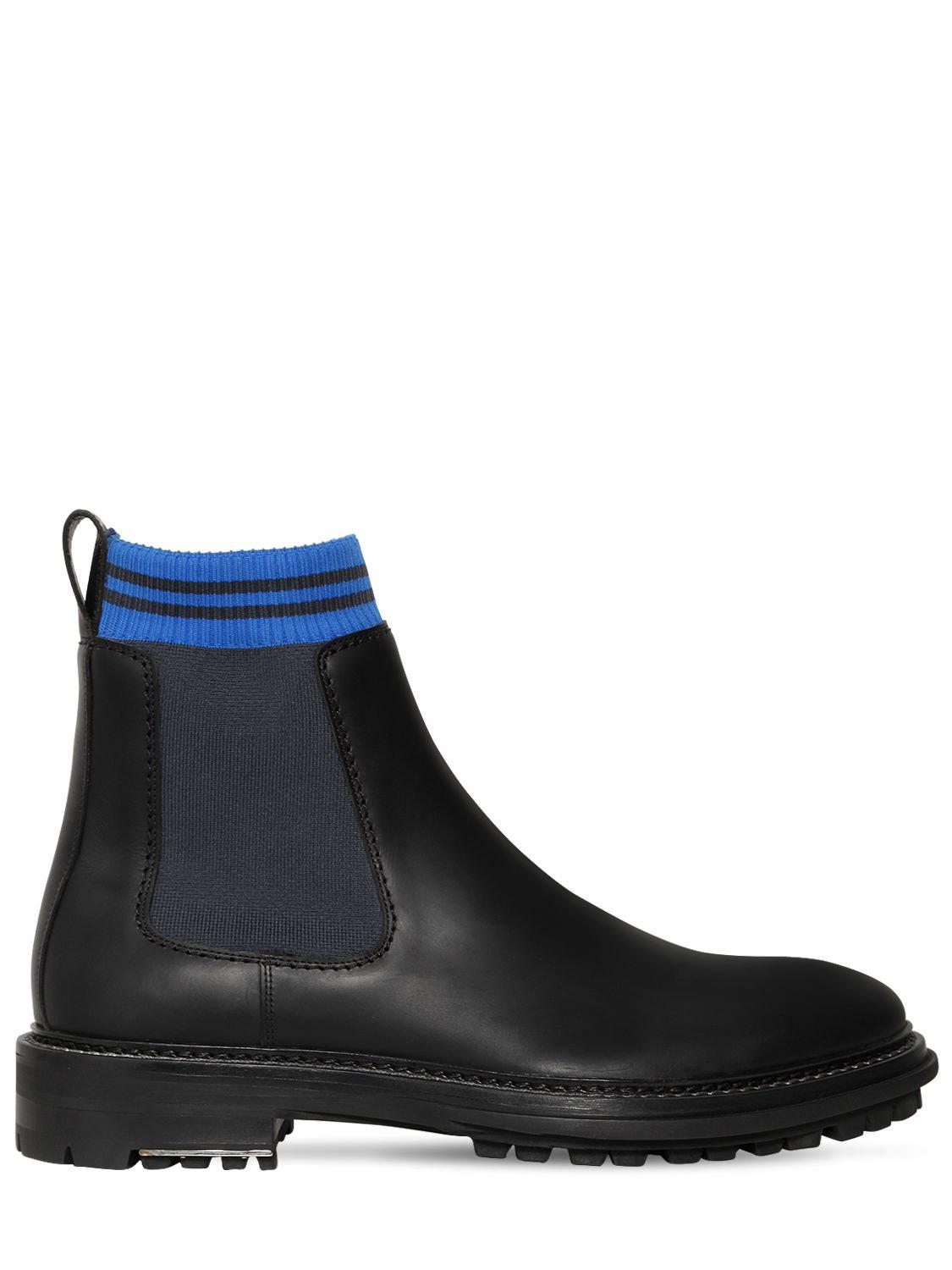 Lanvin 40MM LEATHER & KNIT CHELSEA BOOTS 5Shsa