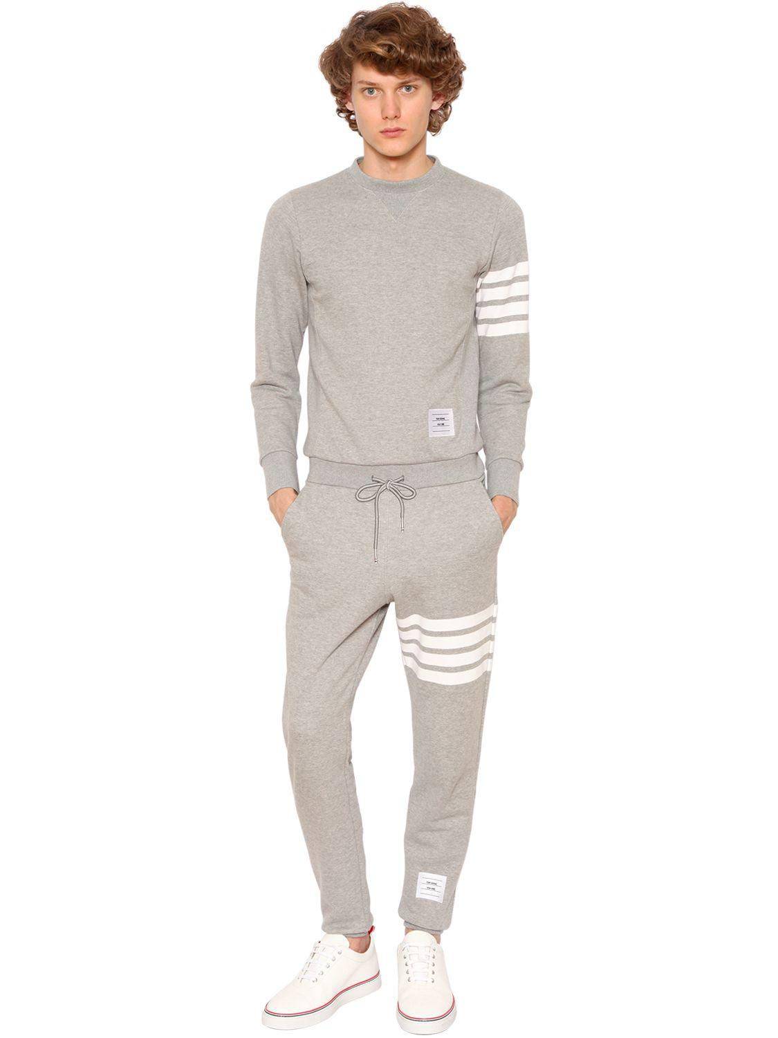 Thom Browne Back Zip Cotton Sweat Jumpsuit In Gray For Men