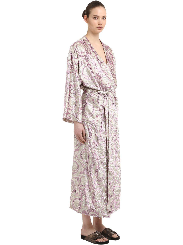 fd28bc23 Versace Pink Bavelet Long Satin Robe