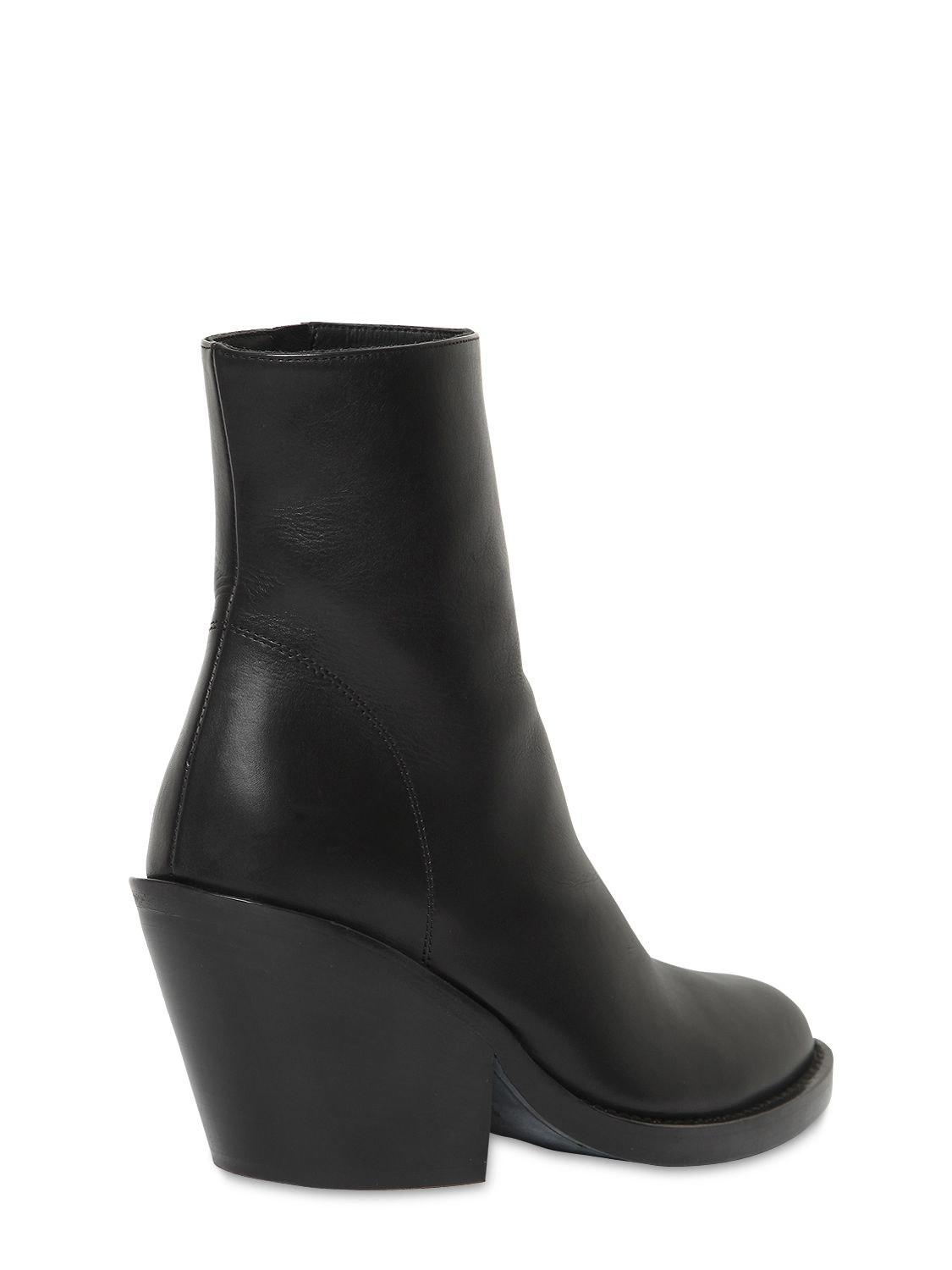 Ann Demeulemeester 80mm Leather Ankle Boots in Black