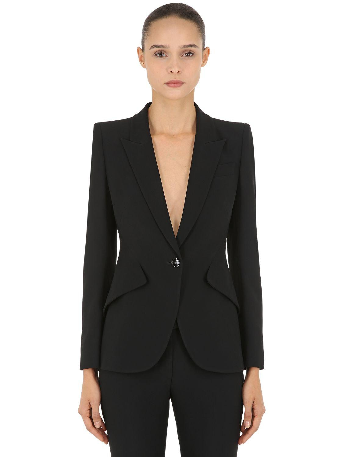 9d412fa3875 Lyst - Alexander McQueen One Button Leaf Crepe Jacket in Black