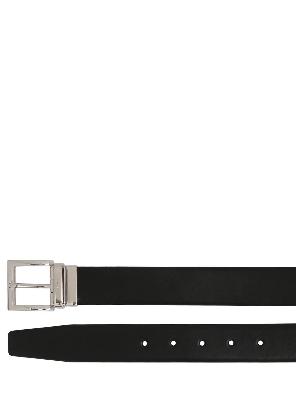 e1f28a48dcbd Prada - Black Ceinture Réversible En Cuir Saffiano 33mm for Men - Lyst.  Afficher en plein écran