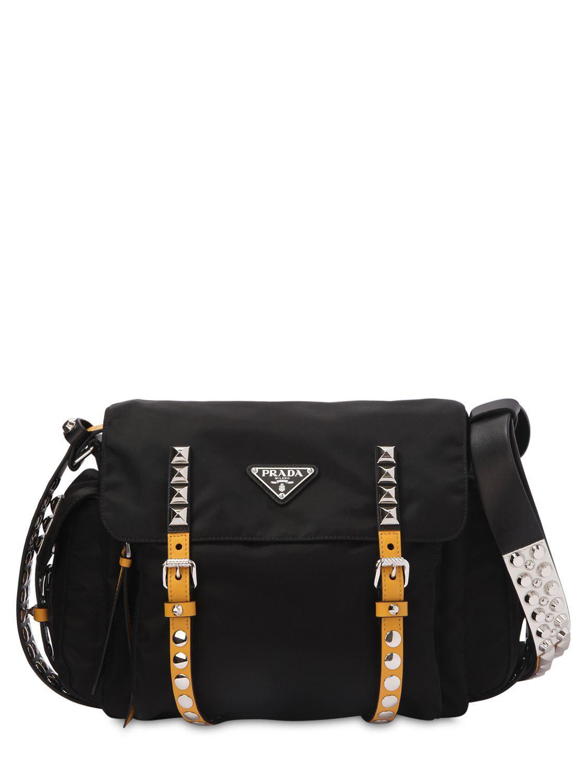 738f4d61d3c6 ... coupon for lyst prada studded nylon messenger bag in black e2184 2c886