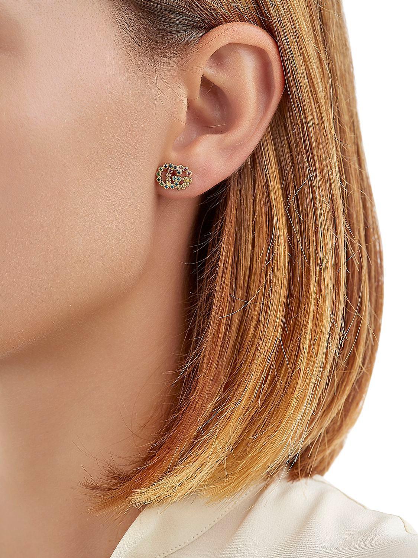 47fca8627bb Lyst Gucci Running G Stud Earrings In Metallic. Gucci 18k Yellow Gold  Running G Diamond Stud Earrings