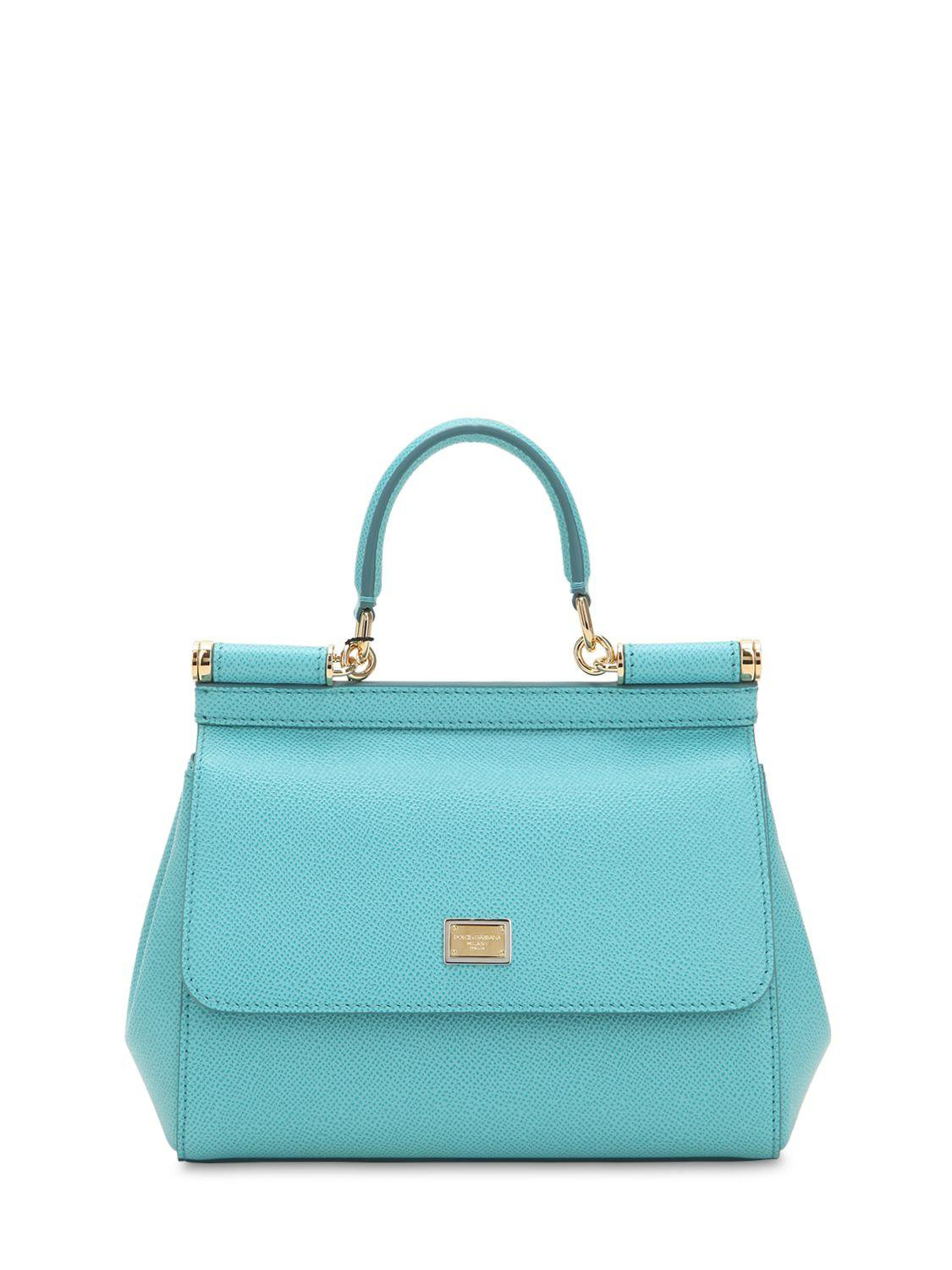 5332b4c06d Lyst - Dolce   Gabbana Small Sicily Dauphine Leather Bag in Blue