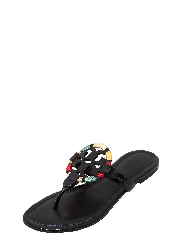 2b2ca972b0231 Tory Burch - Black 10mm Miller Logo Detail Leather Sandals - Lyst. View  fullscreen