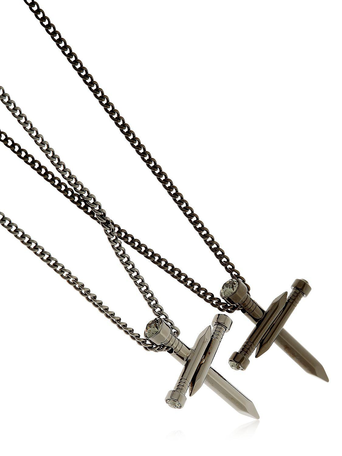 Lyst - Dsquared² Double Nail Cross Metal Necklace in Metallic for Men