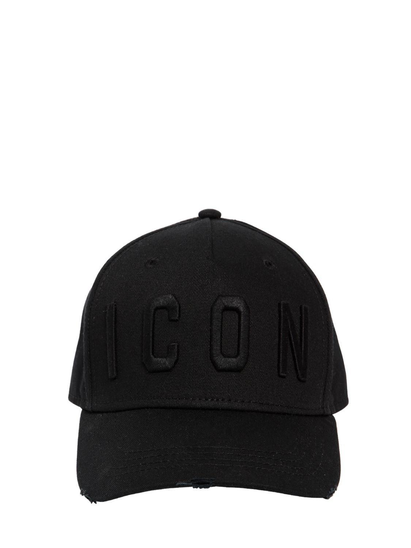 8ed1a7a9c4c DSquared² - Black Icon Cotton Gabardine Baseball Hat for Men - Lyst. View  fullscreen