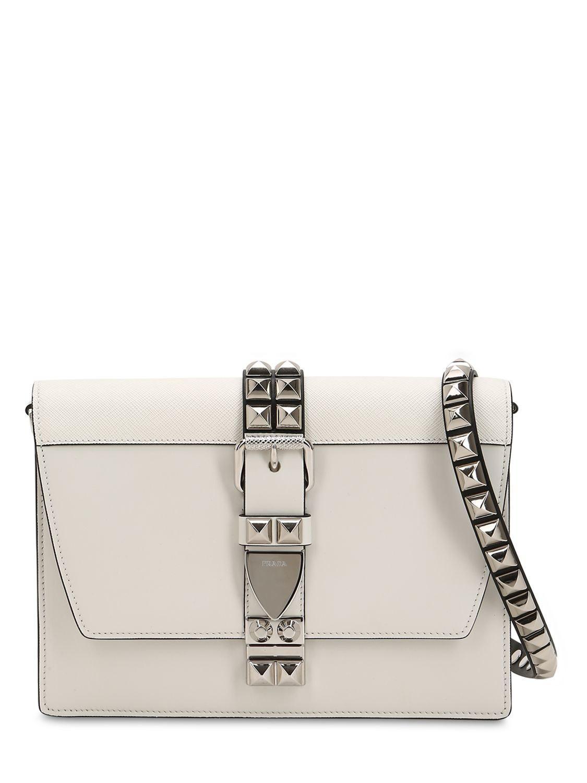 714794494222 Prada Elektra Studded Leather Shoulder Bag in White - Lyst