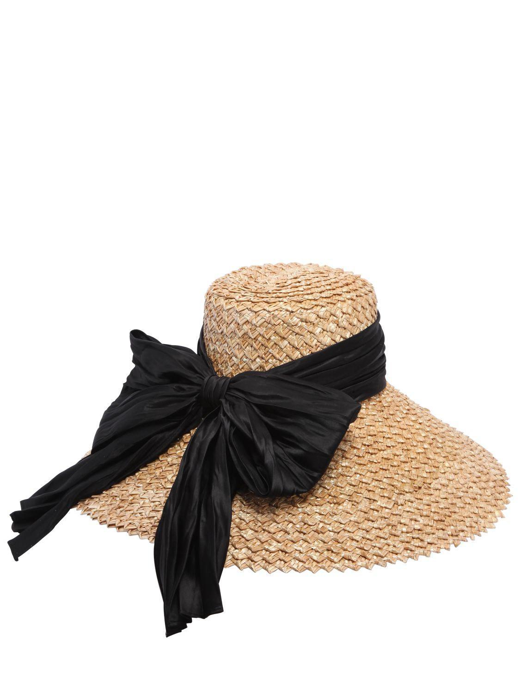 Womens Mirabel Satin-Bow Straw Hat Eugenia Kim 2hyfKLTtU