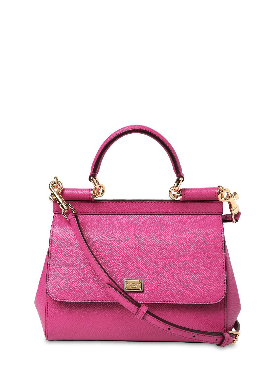 1ce66aefe4 Dolce   Gabbana Small Sicily Dauphine Leather Bag in Pink - Lyst