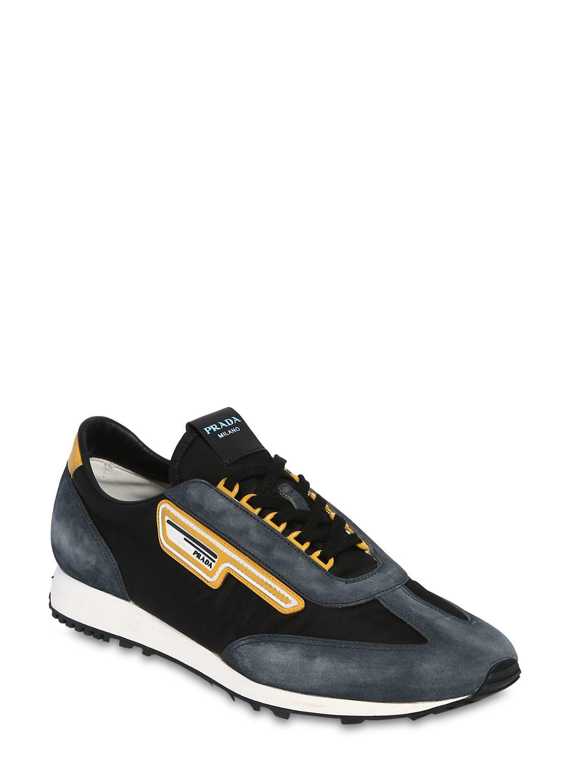 a80f7820cc3a Prada - Black Milano 70 Nylon   Suede Running Sneakers for Men - Lyst. View  fullscreen