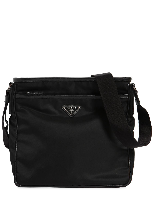 Prada - Black Nylon Crossbody Bag W  Leather Trim for Men - Lyst. View  fullscreen d379181250892
