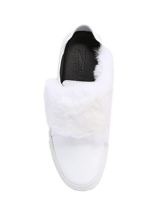 ZCD Montreal 20mm Max Leather & Mink Sneakers in White