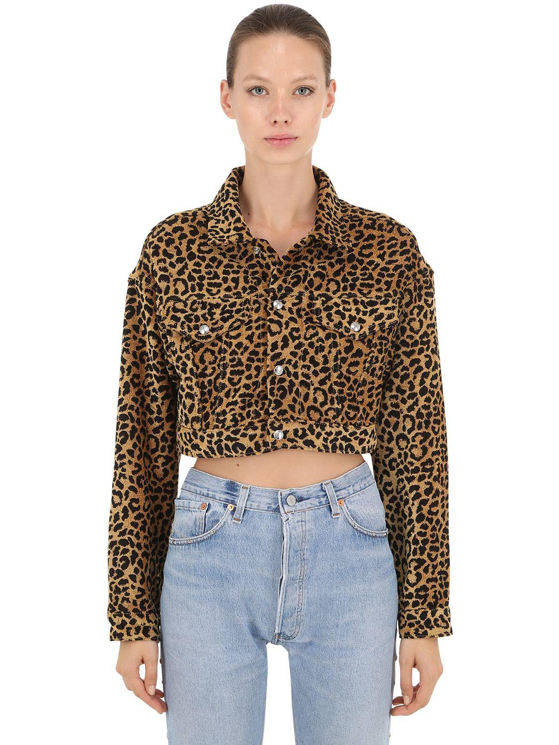 3321679b916d RE/DONE Leopard Cropped Jacket in Brown - Save 43% - Lyst
