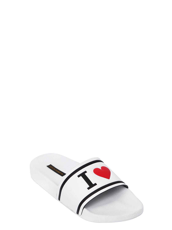 Dolce & Gabbana 20MM I HEART D&G LEATHER SLIDE SANDALS Lowest Price Online JU1lBFNpb