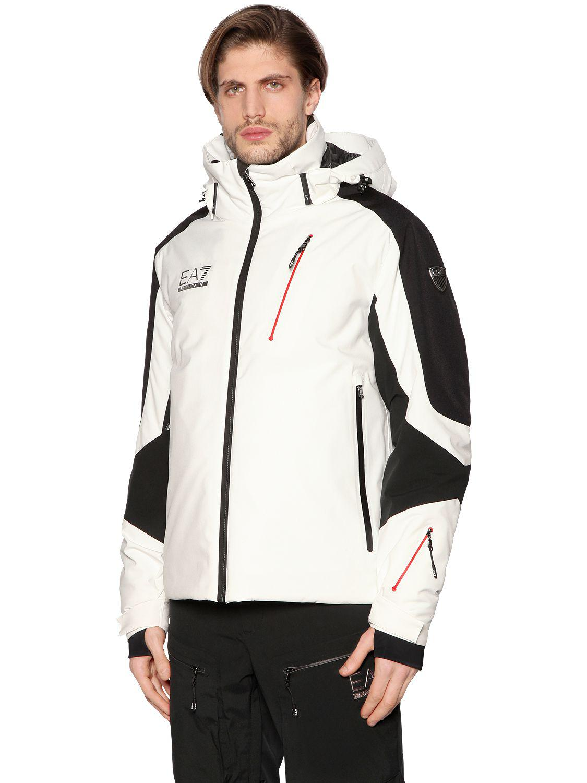 6db65195ef EA7 Ski Race 4 Two Tone Waterproof Jacket in White for Men - Lyst