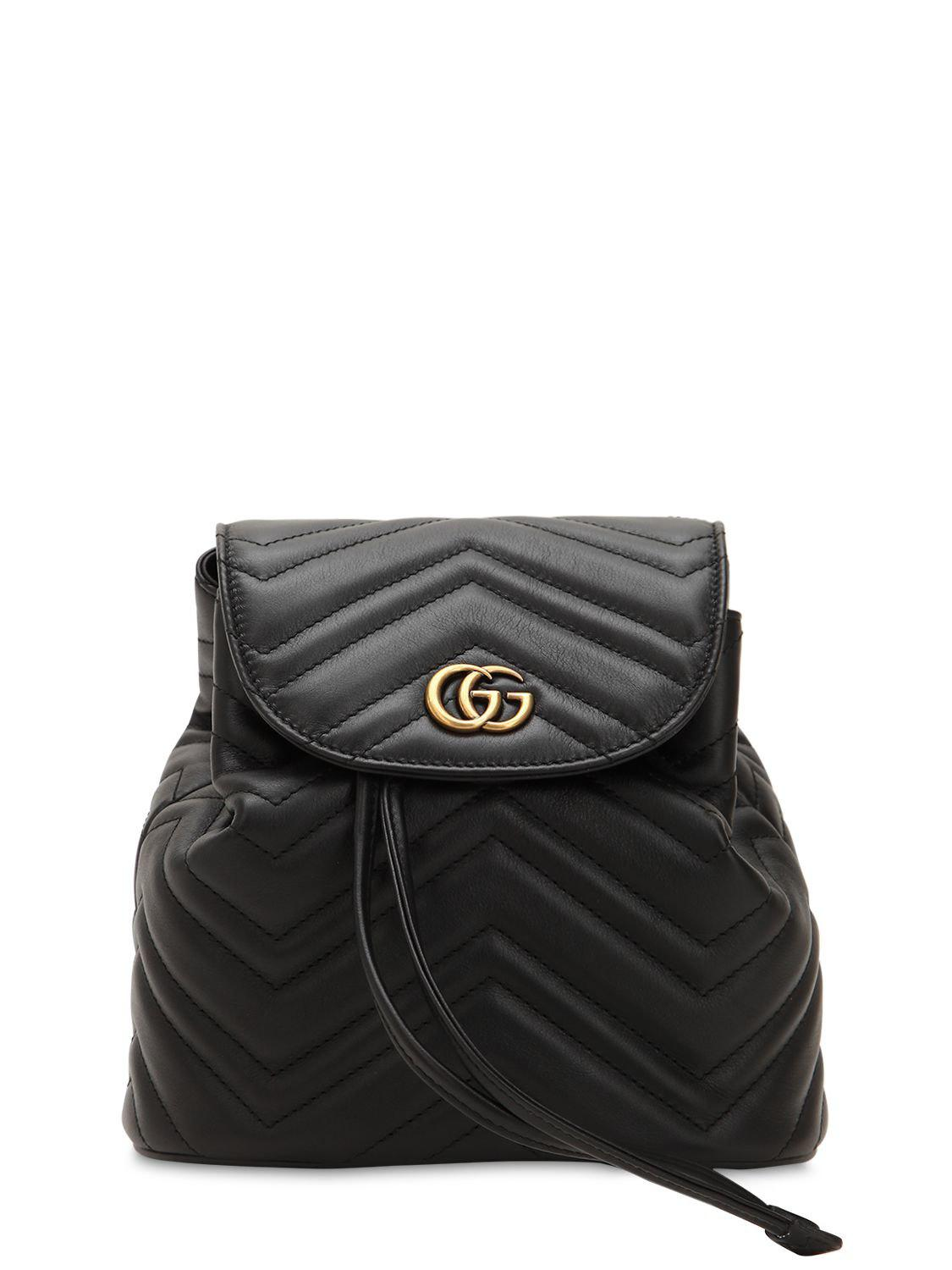 994680fa1ed Gucci Mini Gg Marmont Leather Backpack in Black - Lyst