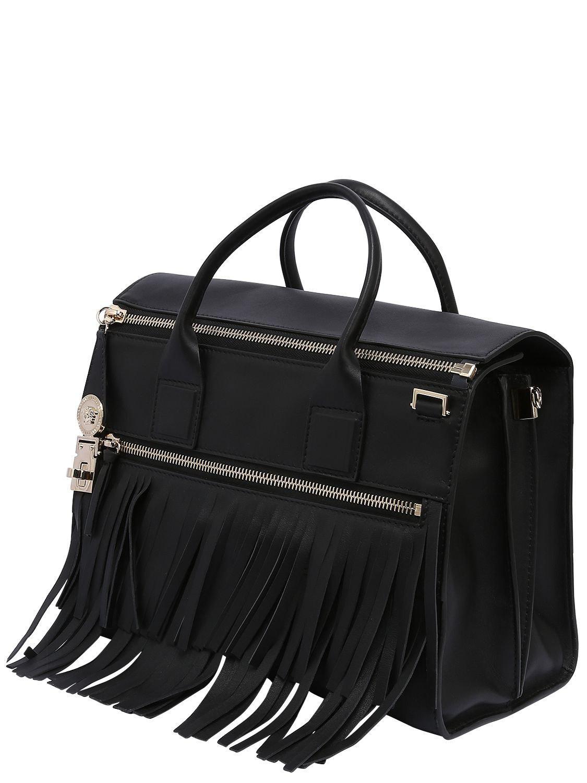 Sac En Avec Franges Black À Main Coloris Cuir Versace xBWrdCoe