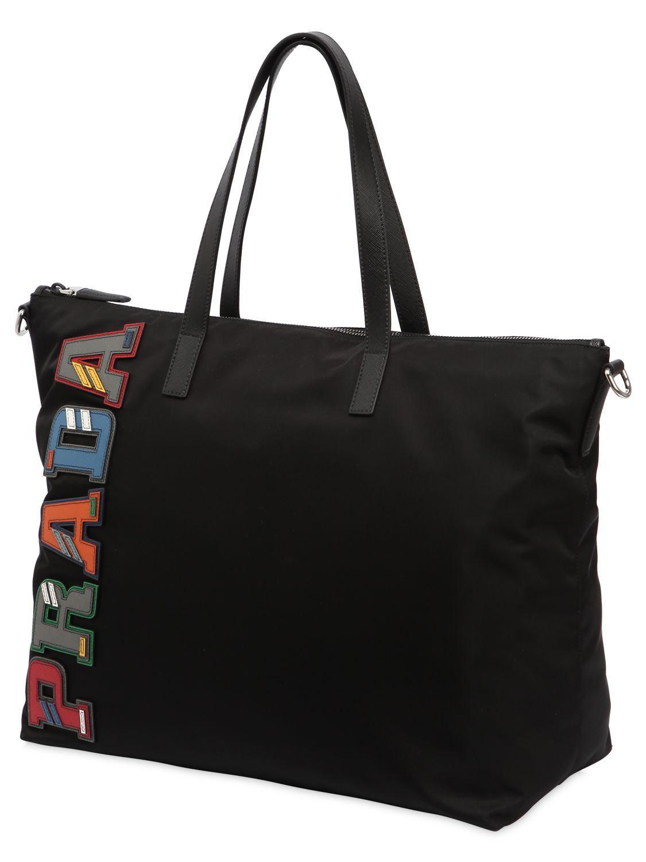 9b86350e5ffe Prada Nylon Tote Bag W/ Leather Logo Patches in Black - Lyst