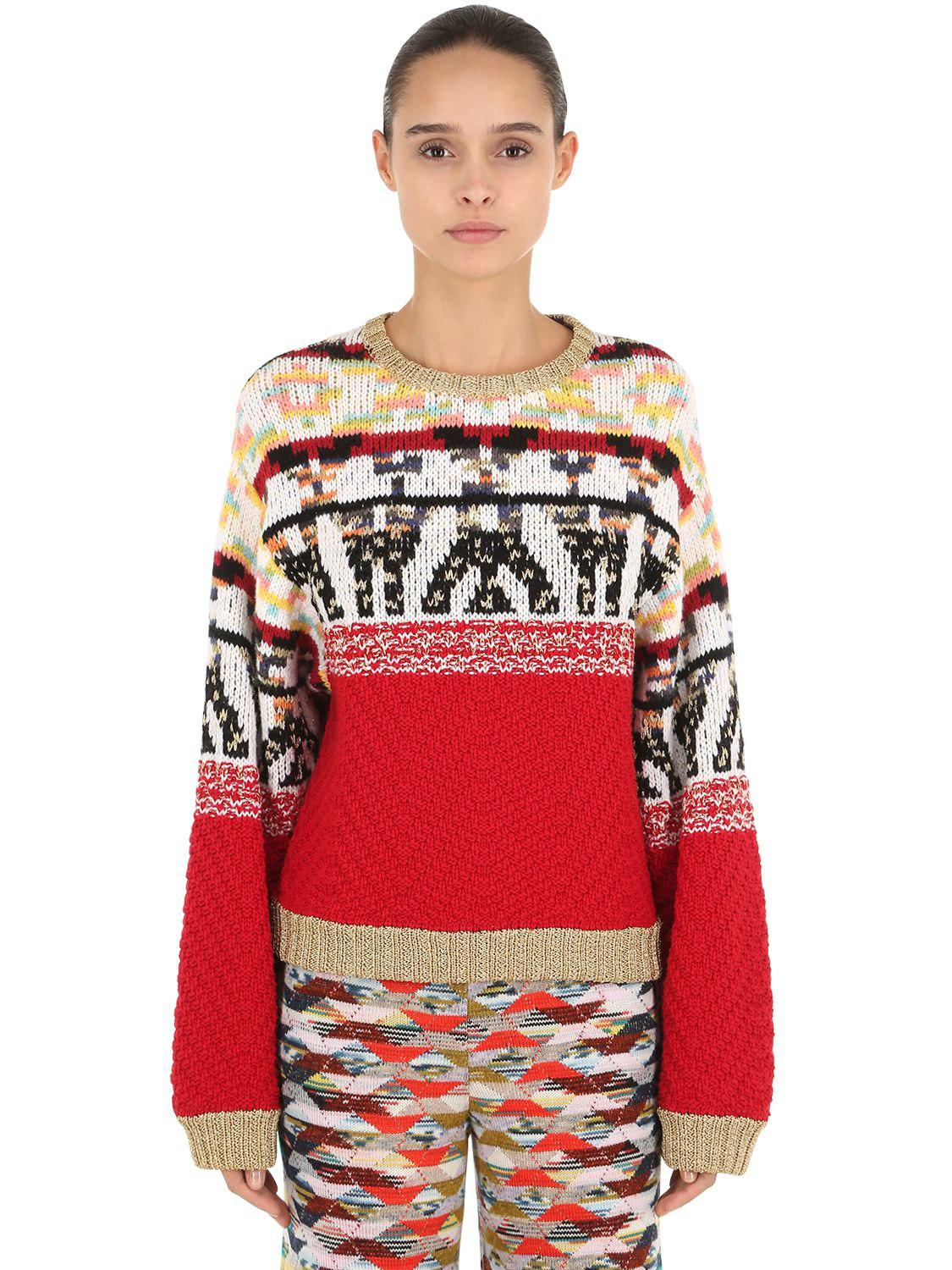 e53b165d5f Lyst - Missoni Jacquard Wool Blend Knit Sweater in Red