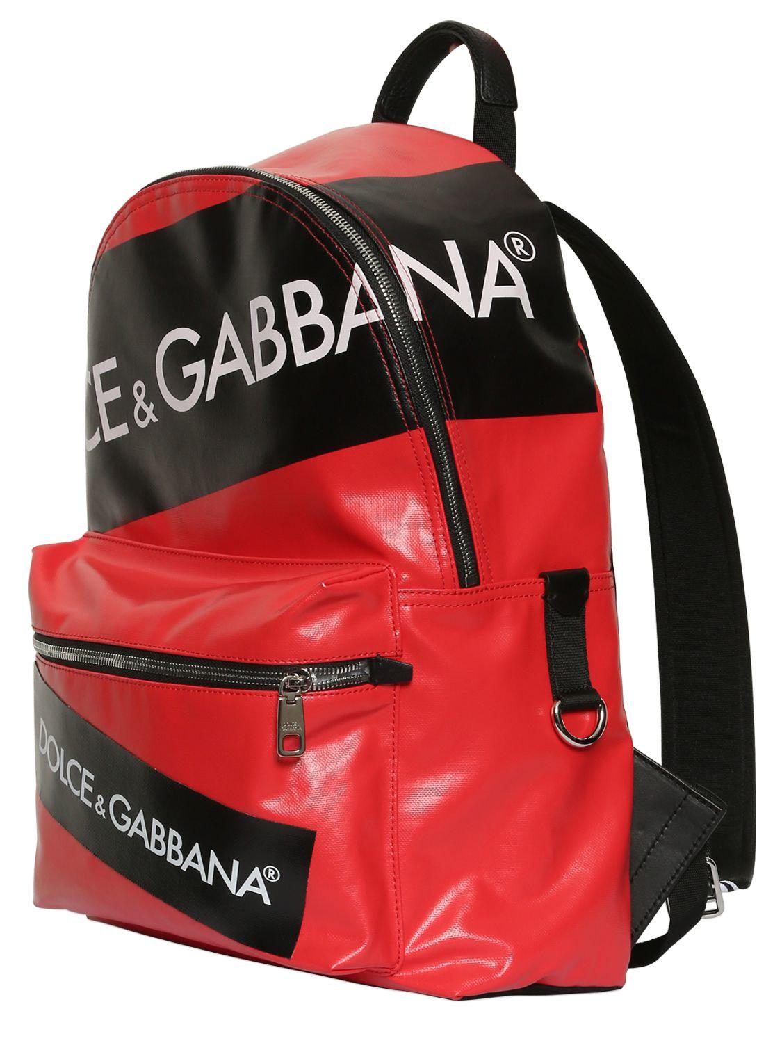 Dolce & Gabbana Leather Logo Tape Coated Cordura Backpack in Red for Men