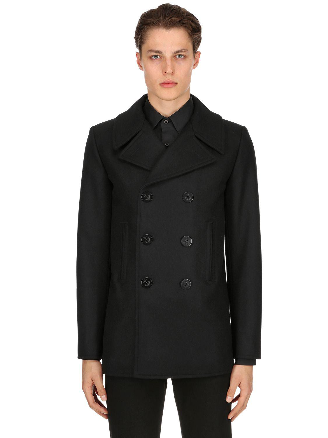 3f9cc88b878b5 Saint Laurent Double Breasted Wool Cloth Peacoat in Black for Men - Lyst