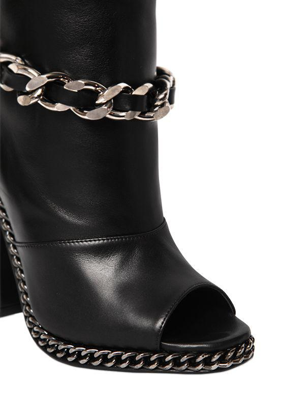 Balmain 110mm Doll Chain Leather Open Toe Boots in Black