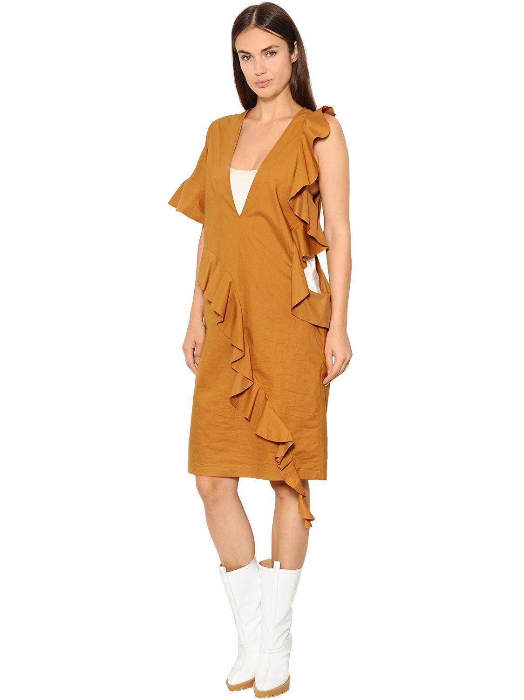 Algodón De Vestido Acanalado Martin Maison Camel Mujer Talla Mini L Margiela IqxX4U
