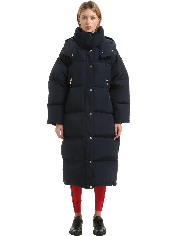 576a966c4 Tommy Hilfiger Blue Long Nylon Down Coat Gigi Hadid