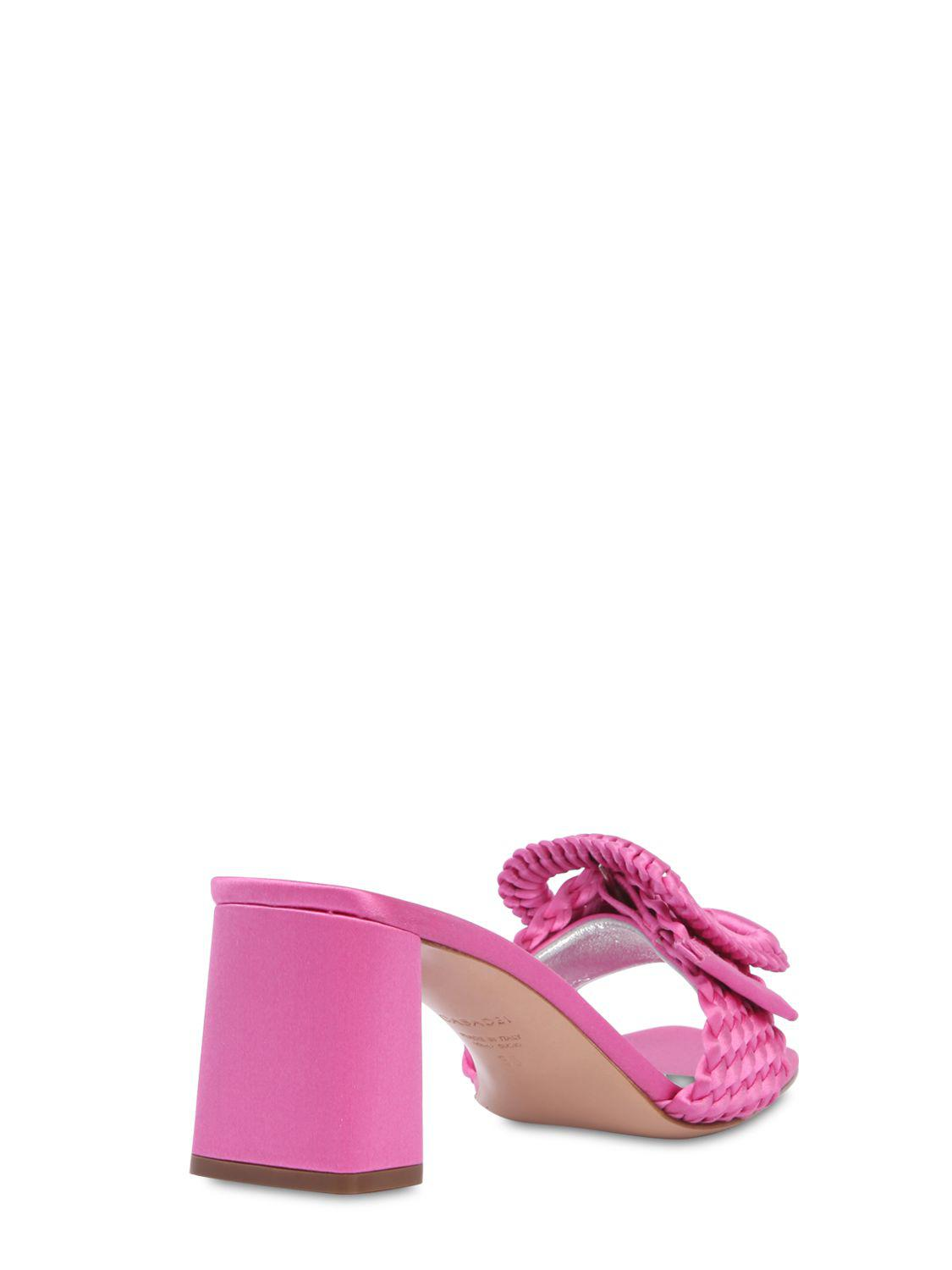Casadei 60MM BUCKLED WOVEN SATIN MULE SANDALS CAZS8