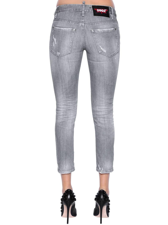 DSquared² Super Skinny Cropped Denim Jeans in Grey (Grey)