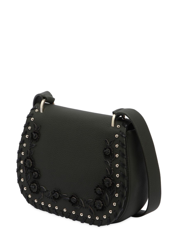 9831afab57 Kate Spade Tressa Floral Appliqués Leather Bag in Black - Lyst
