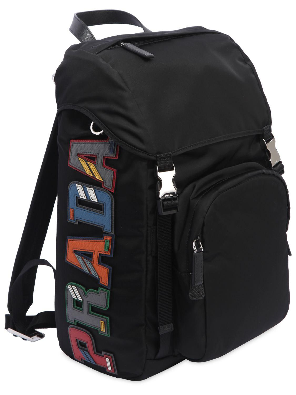 723deae8383e Prada Nylon Backpack W/ Leather Logo Patches in Black for Men - Lyst
